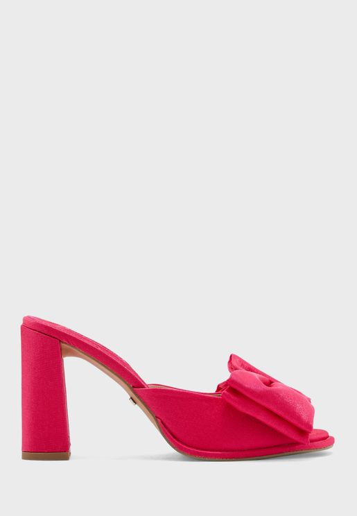 Bow Heeled Mule Sandal
