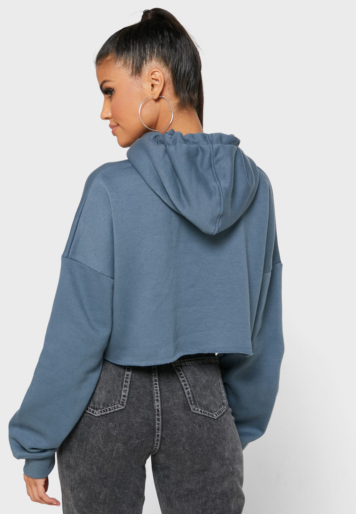 Front Ruched Cropped Hoodie