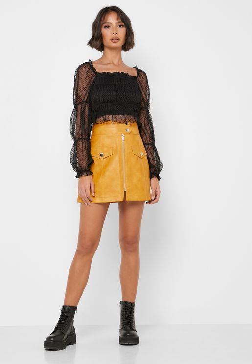 High Waist Full Zip Zip Pu Skirt