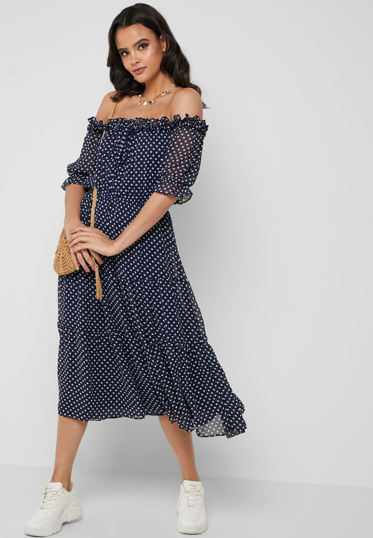 Polka Dot Tiered Bardot Midi Dress