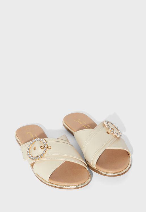 Intel Cross Strap Flat Sandals