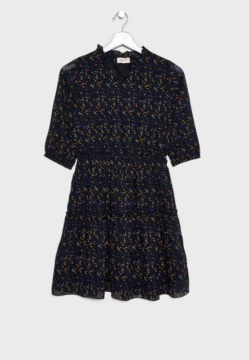 فستان مطبع بأكمام واسعة