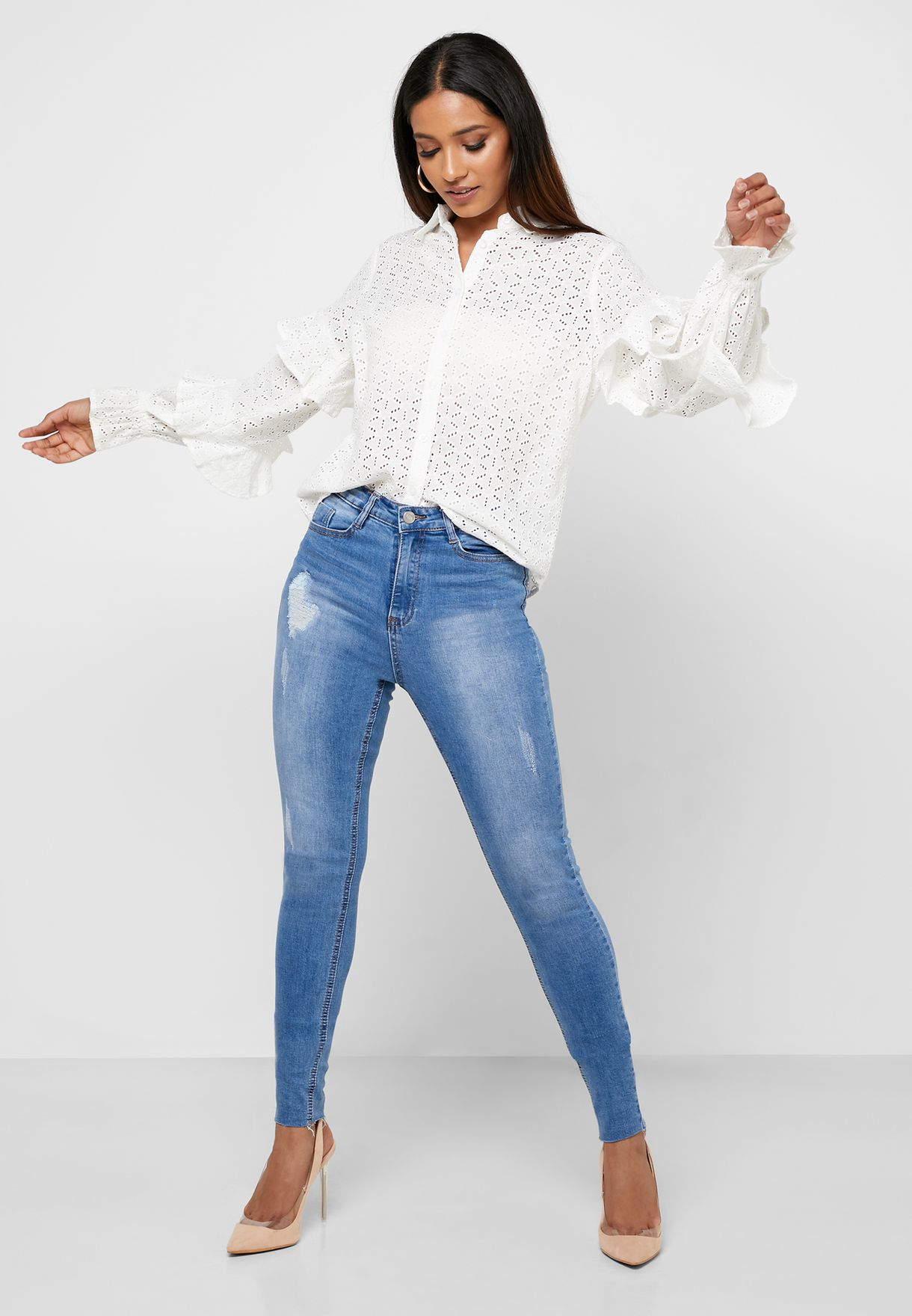 Broderie Layered Sleeve Top
