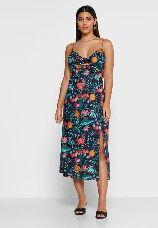 Sally Side Split Printed Dress