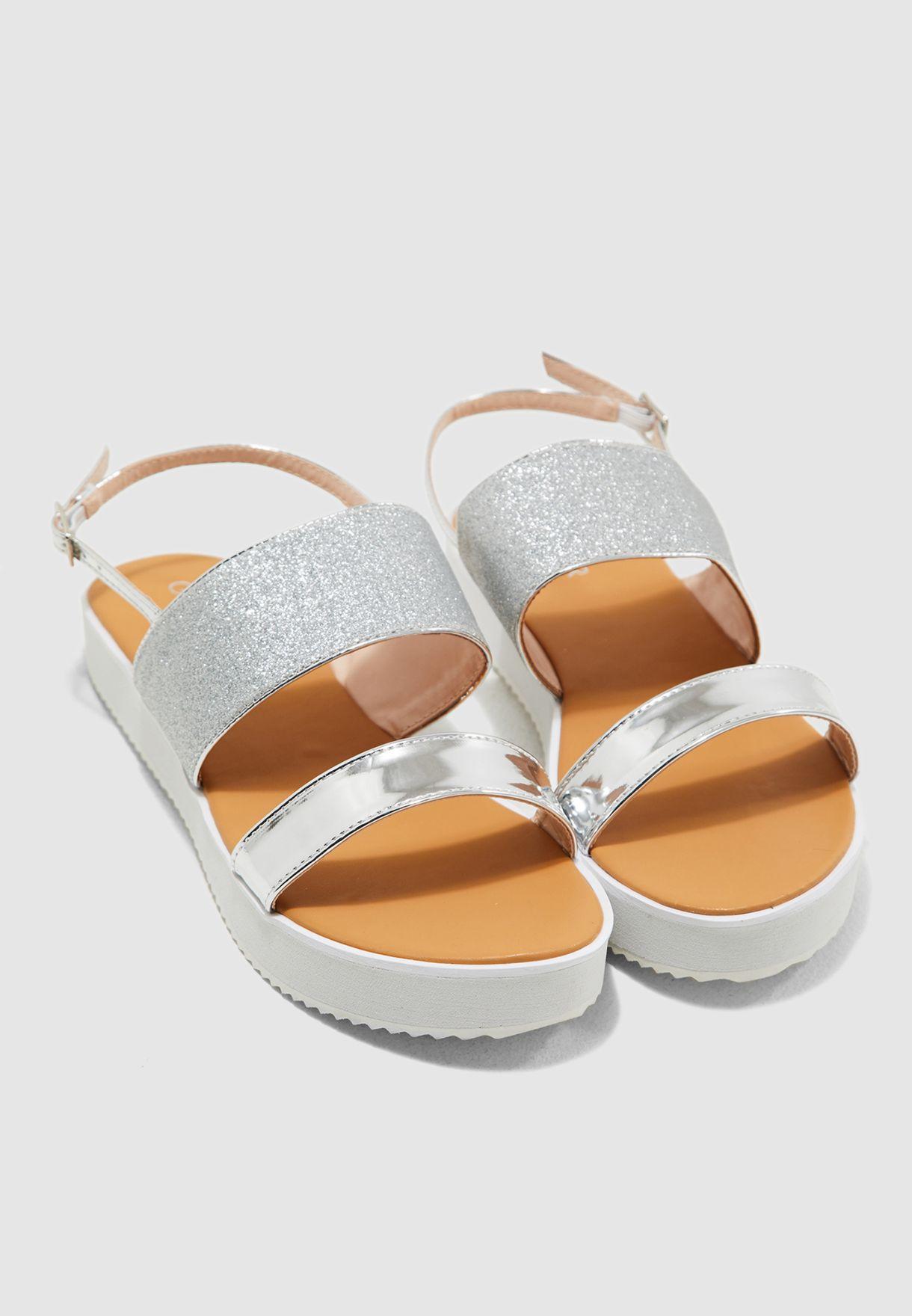 d69f43bb20c Shop Ginger silver Flatform Sandals 17168 for Women in Bahrain ...