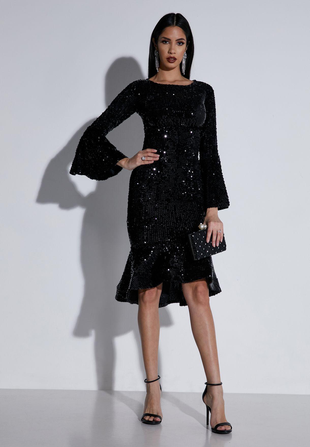 Sequin Ruffle Trim Midi Dress