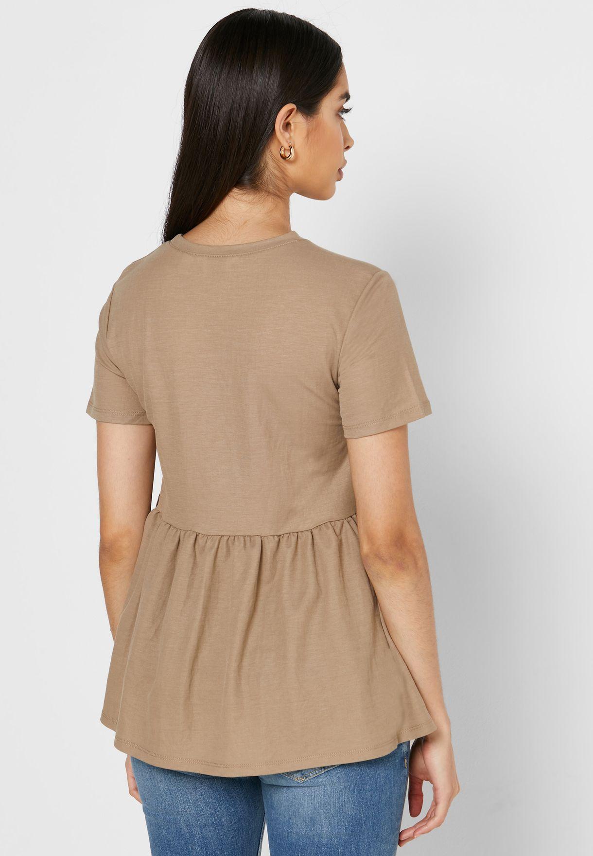 Round Neck Peplum T-Shirt