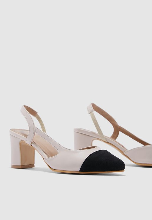 Milla Low Heel Pump - Beige