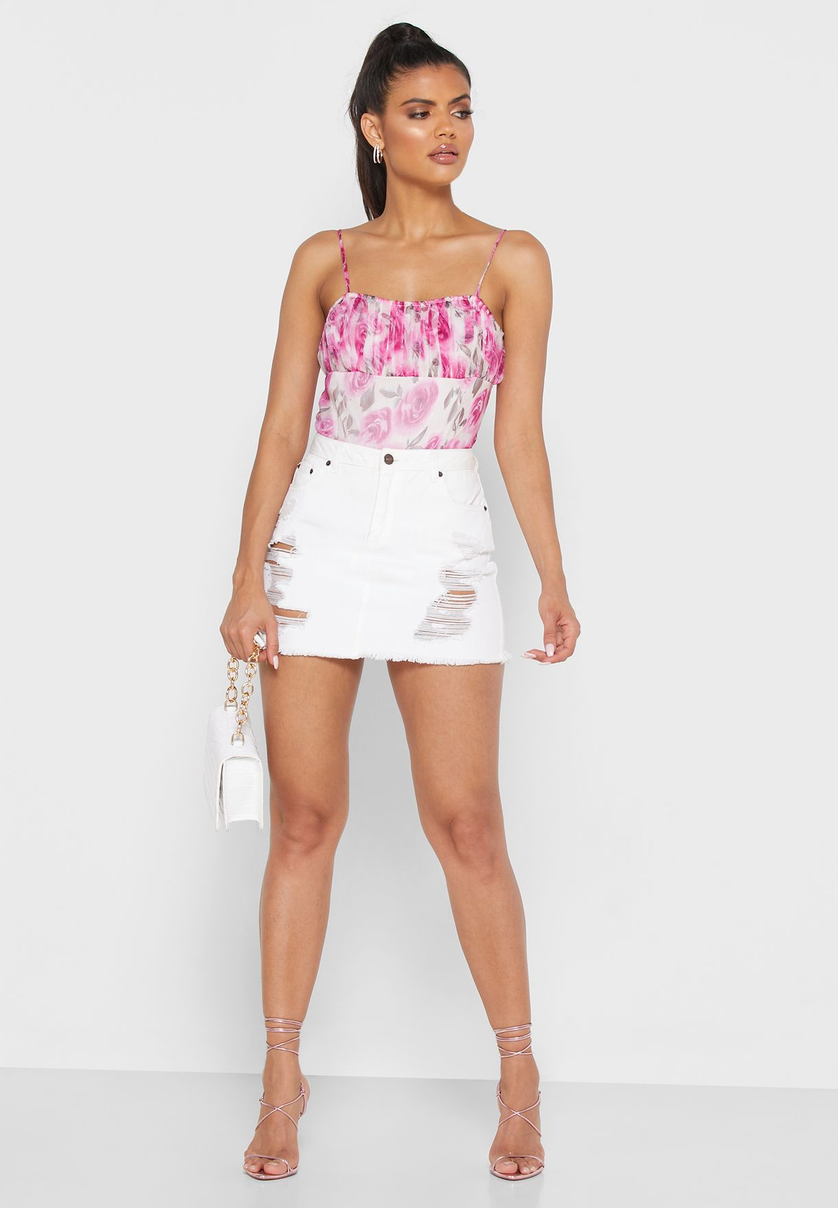 Rose Print Ruched Body