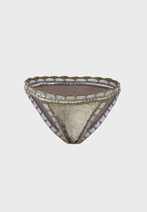 Lace Trim Sequin Bikini Bottom