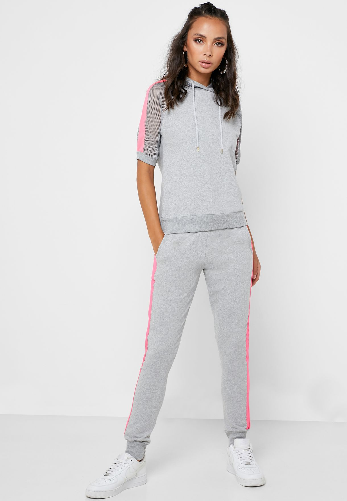 Mesh Side Striped Joggers Set
