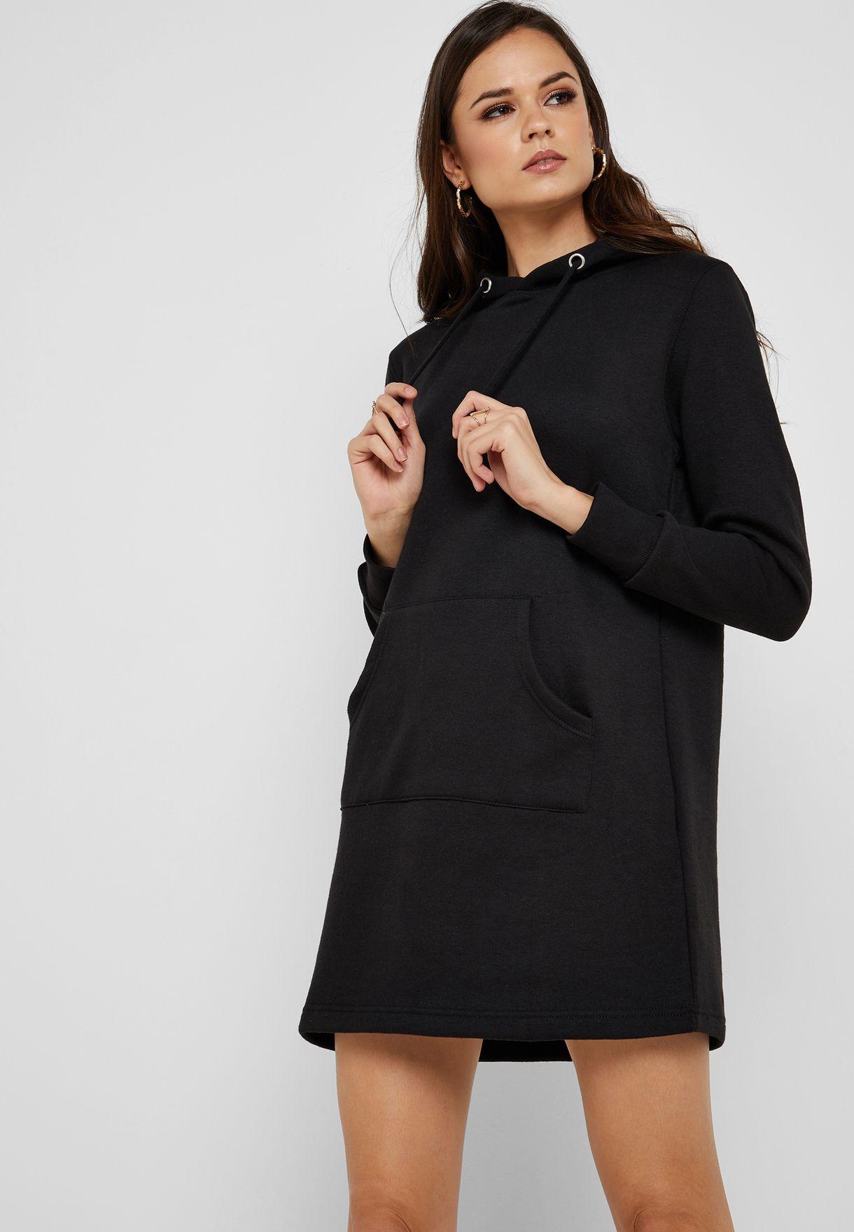bee20f2a7fa Shop Ginger black Hooded Sweatshirt Mini Dress LDRJ-531TACHABLK for Women  in UAE - 11096AT33PIP