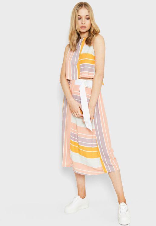Tie Waist Striped Midi Skirt