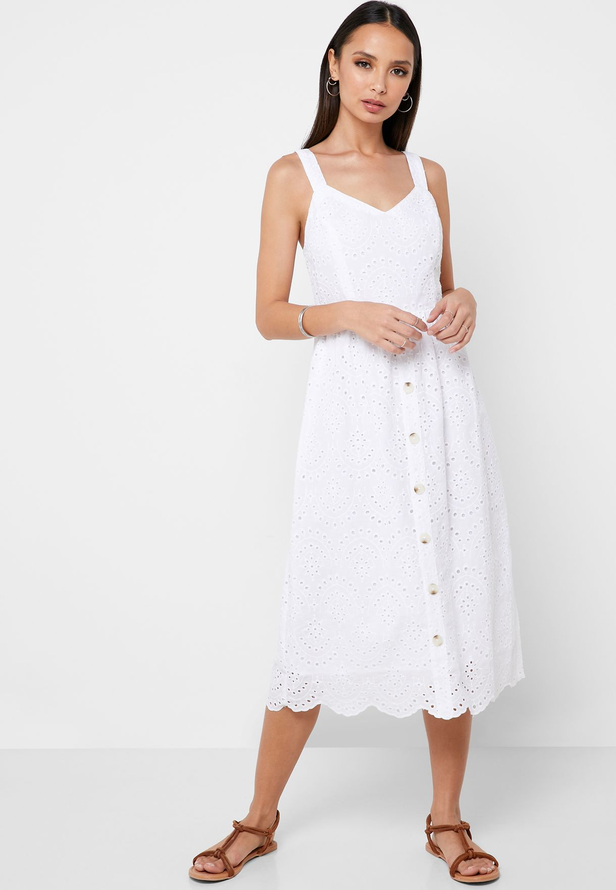 Schiffli Button Down Dress
