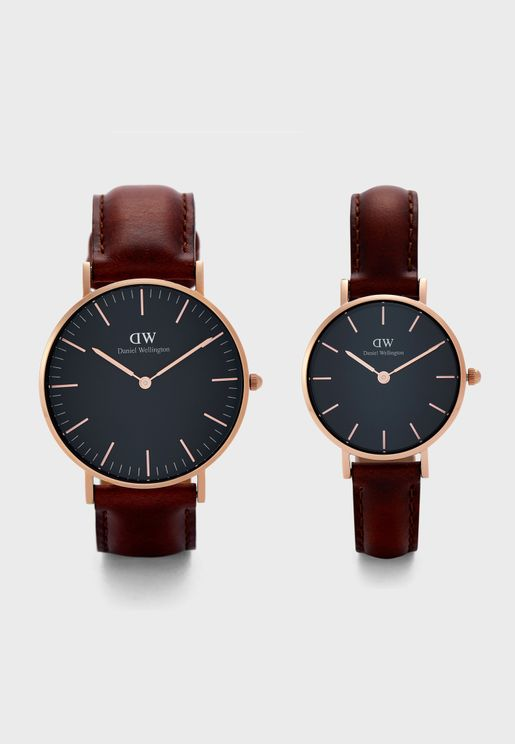 Multistrap Analog Watch Gift Set
