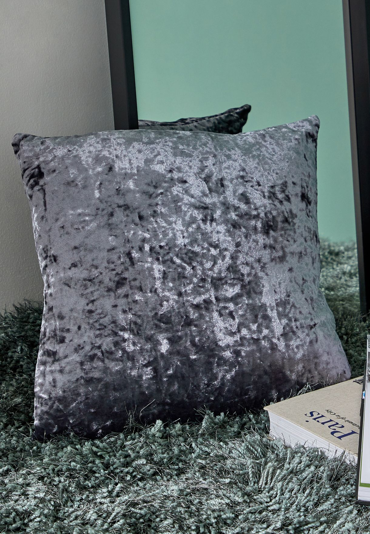 Grey Velour Cushion With Insert 45x45 cm