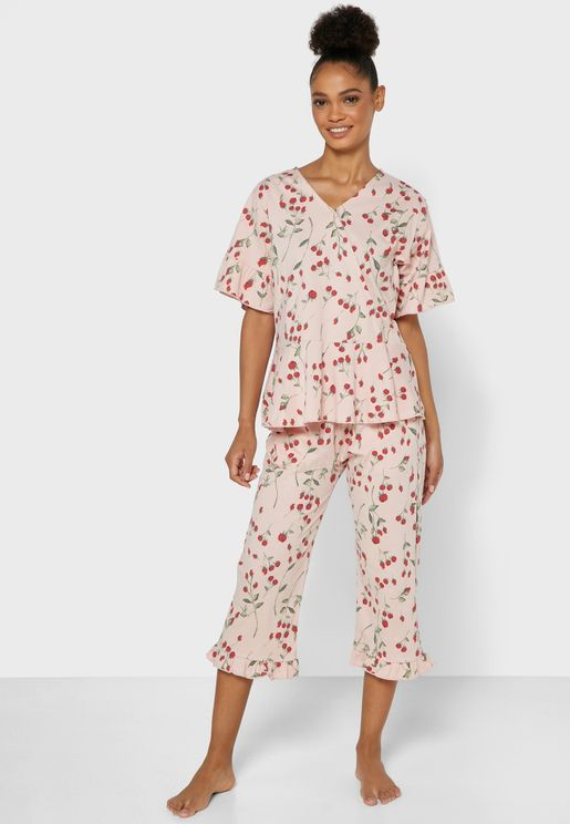 Printed Wrap Front Pyjama Set
