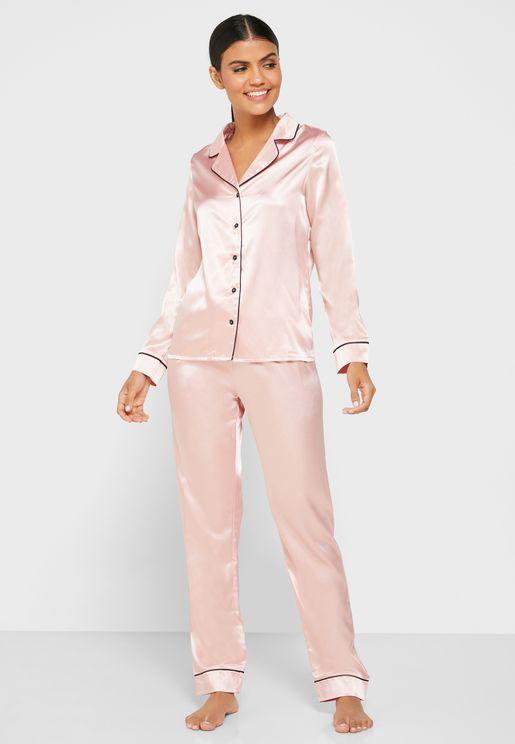Satin Shirt Pyjama Set