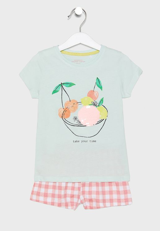 Kids Graphic T-Shirt + Shorts Pyjama Set