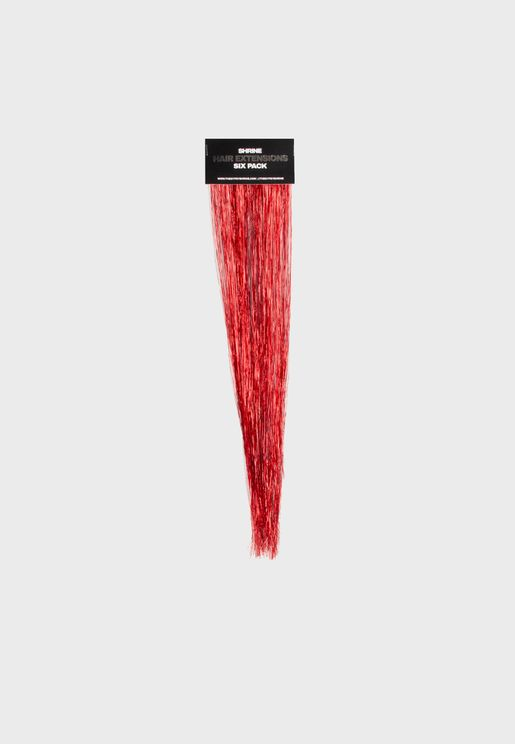 Red Tinsel Hair Extensions