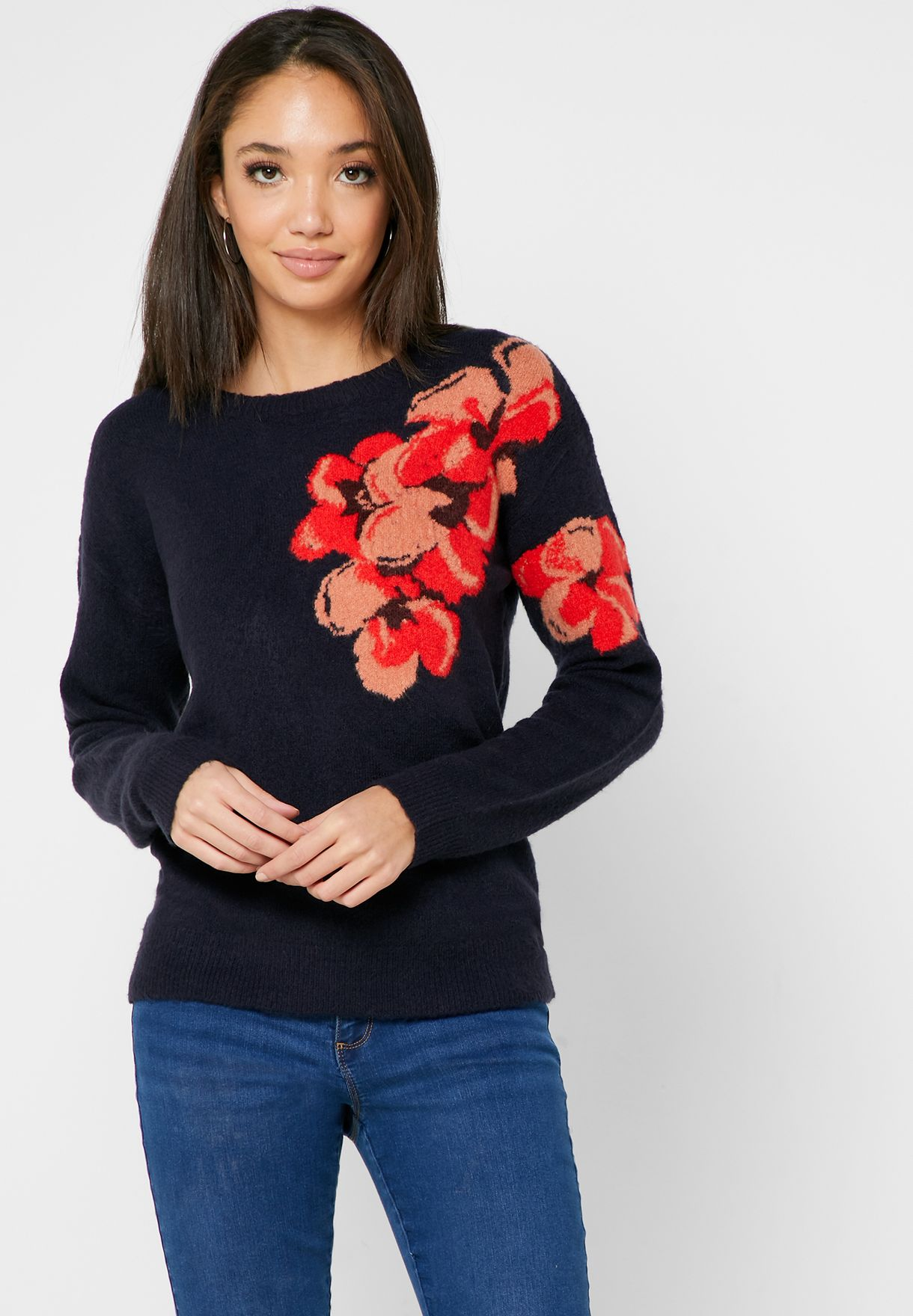 Floral Print Sweater