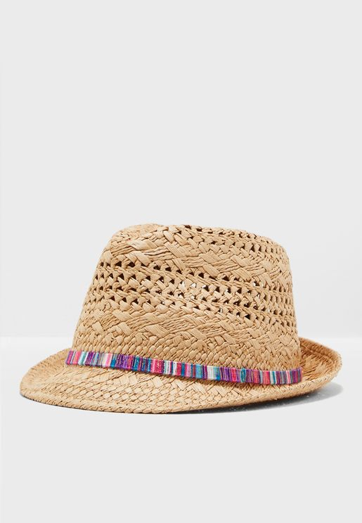 Trilby Straw Hat With Band Detail