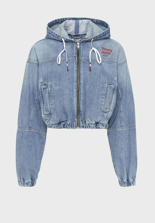 Full Zip Hooded Denim Jacket
