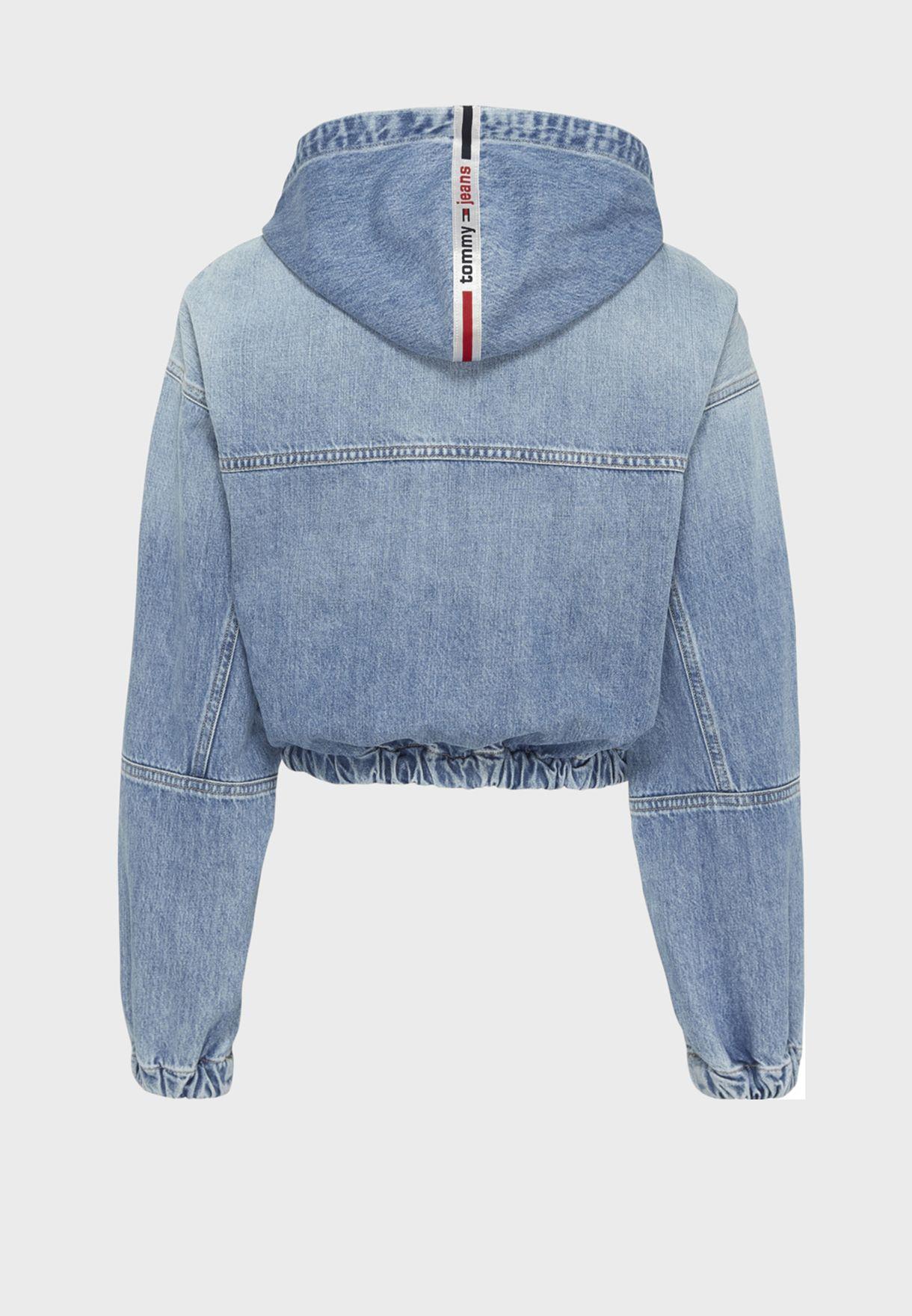Full Zip Hooded Denim Jacket