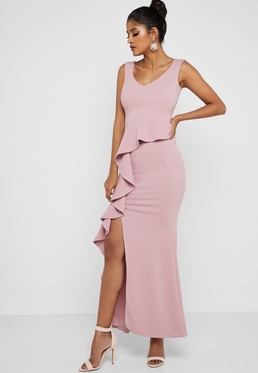 Bardot Peplum Frill Split Maxi Dress