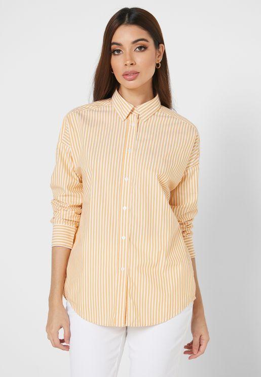 قميص فضفاض بخطوط