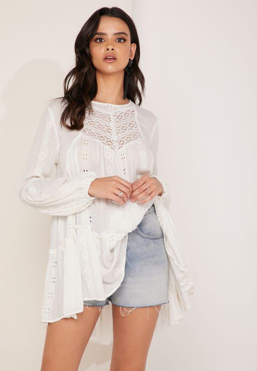 Kiss Kiss Lace Detail Tunic Top
