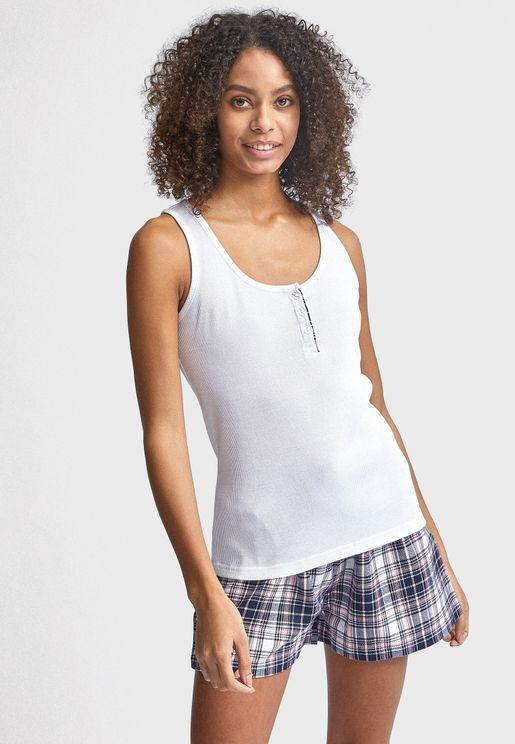 Button Detail Tank Top & Checked Shorts Set