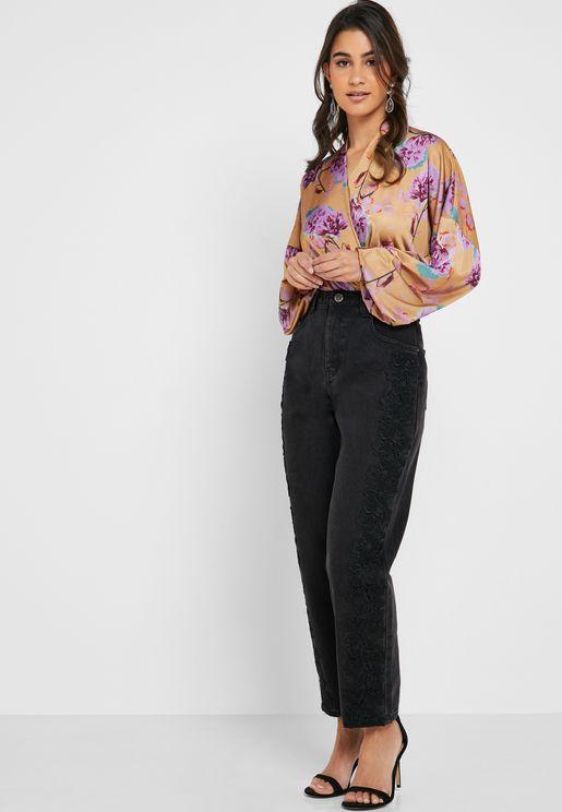 Lace Side Seam High Waist Jeans