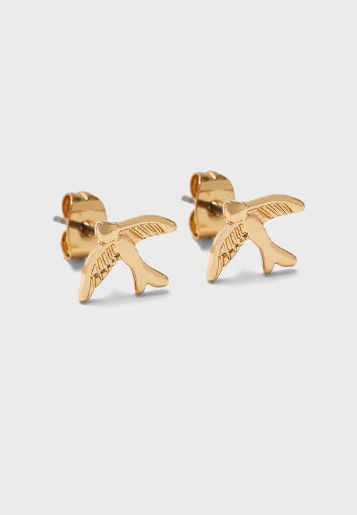 زوج من اقراط دبوسية على شكل طائر