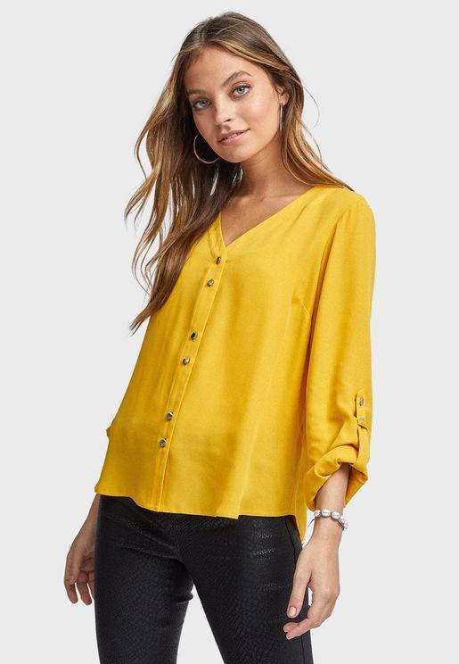 Sheer Roll Sleeve Shirt