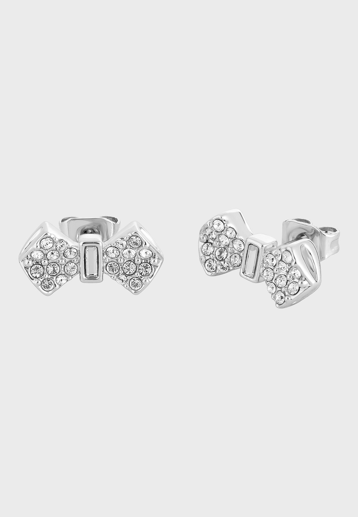Sersi Solitaire Pave Bow Earrings