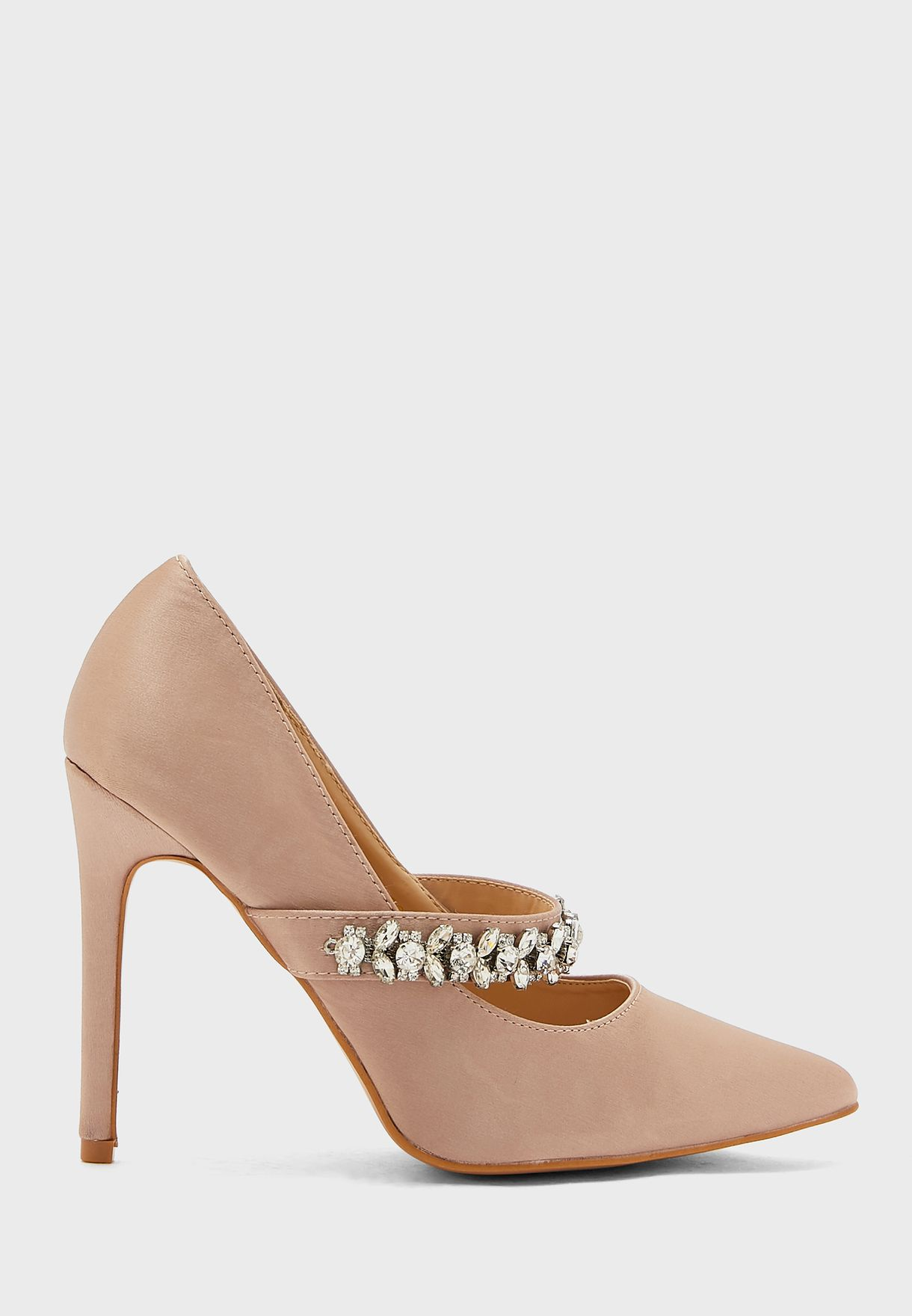 Pointed Satin Stiletto With Embellished Strap