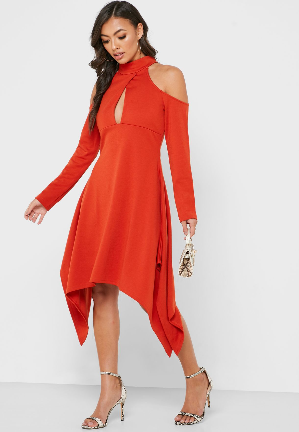 Asymmetric Cold Shoulder Cut Out Dress