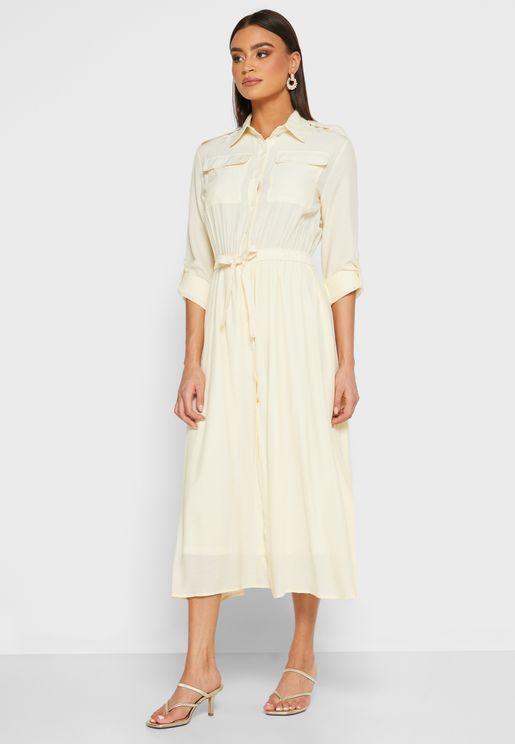 Utility Self Tie Shirt Midi Dress