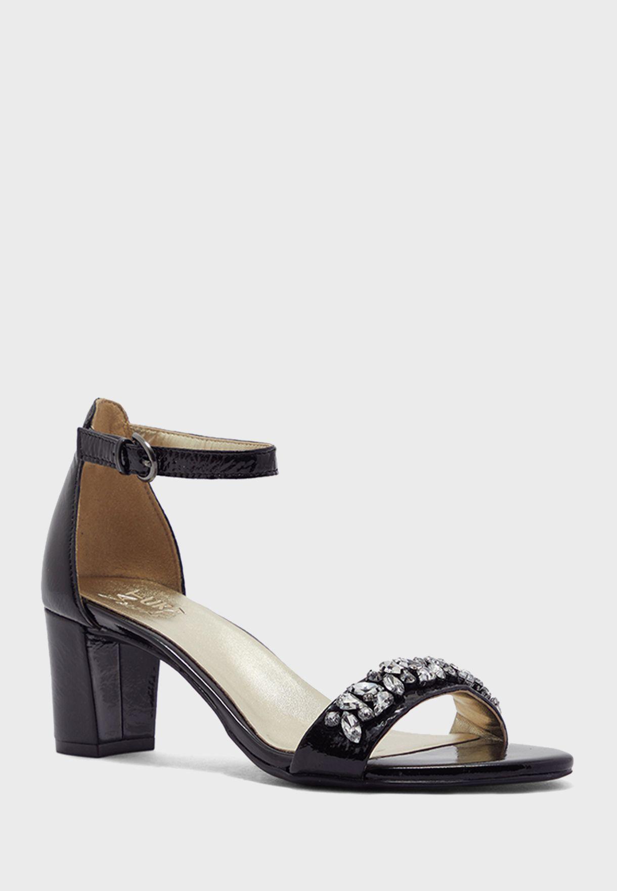Embellished Mid Heel Ankle Strap Sandals