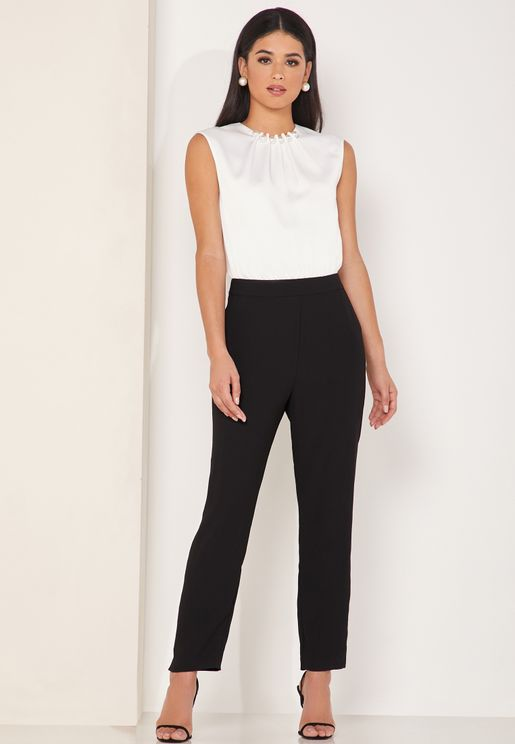 Roziee Pearl Neck Colorblock Jumpsuit