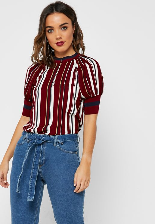 Striped Ringer Printed Top