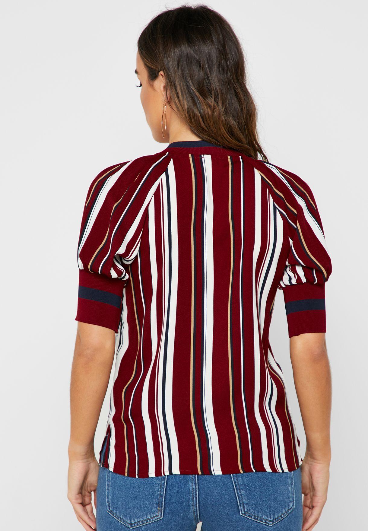 Striped Ringer Printed Top
