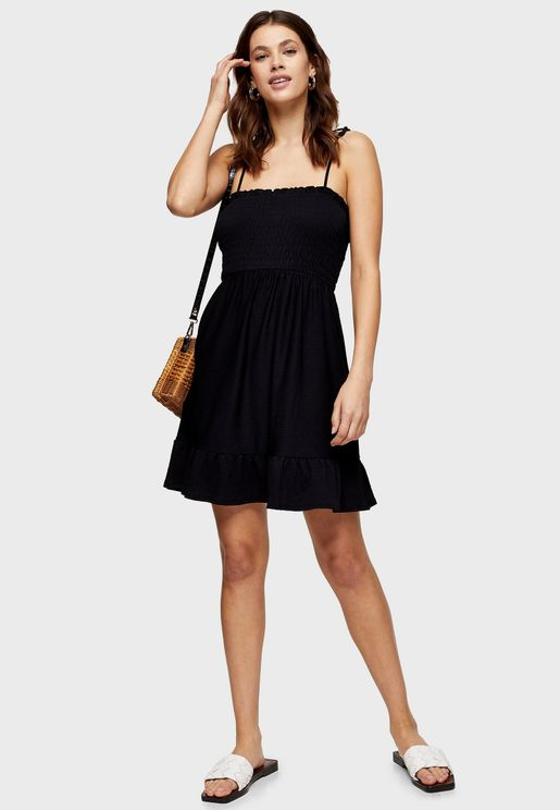 Square Neck Shirred Dress
