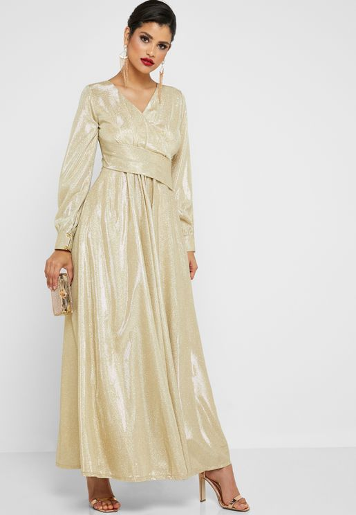 Lurex Wrap Front Maxi Dress