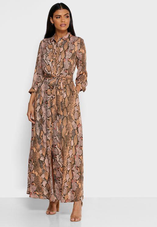 فستان بطبعات حيوانات واربطة خصر