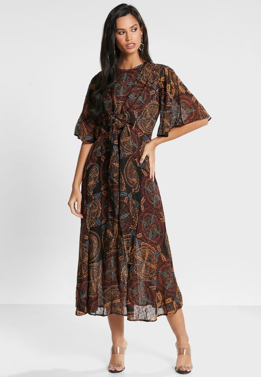 Twisted Front Printed Dress