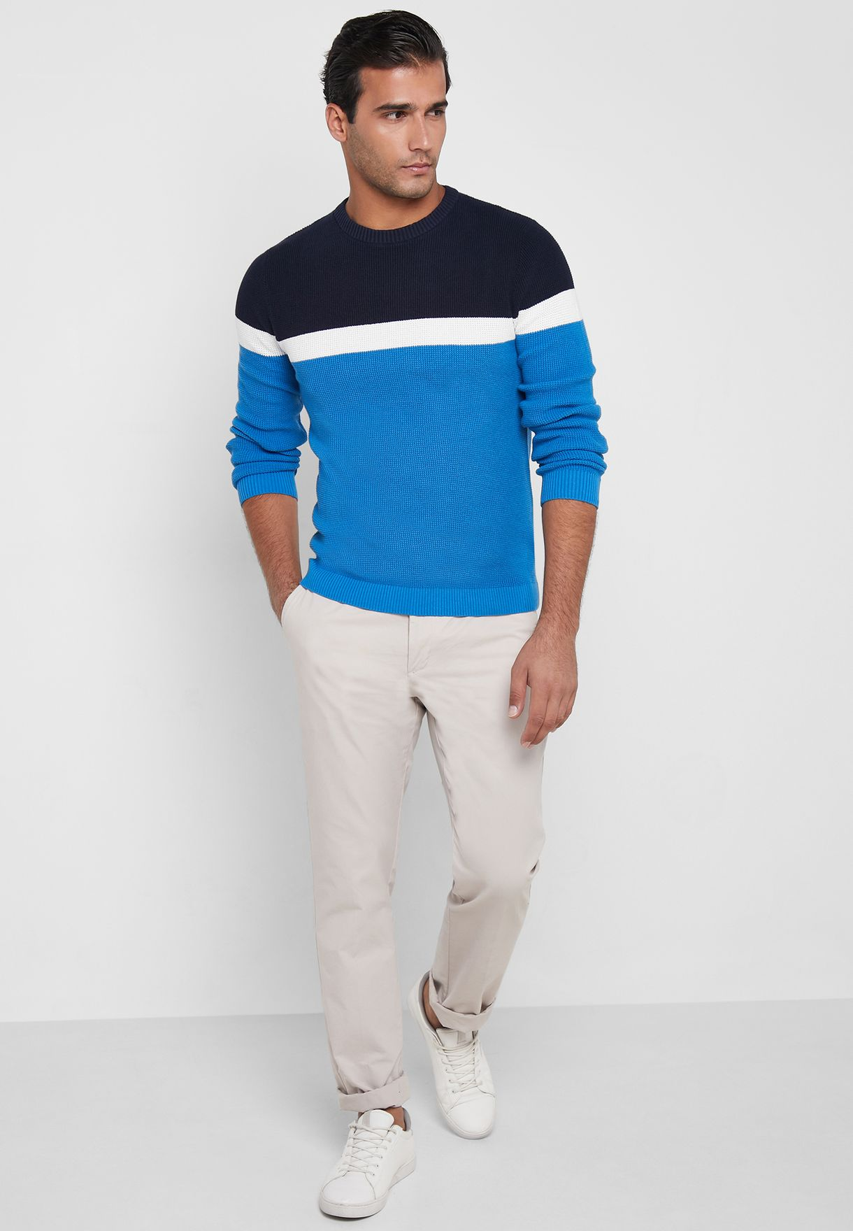 New Oak Color Block Knitted Sweater