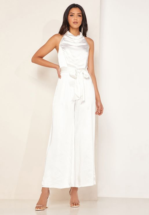 Cherish Halter Neck Tie Waist Jumpsuit