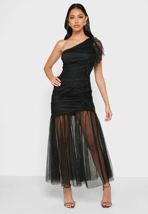 One Shoulder Organdy Dress